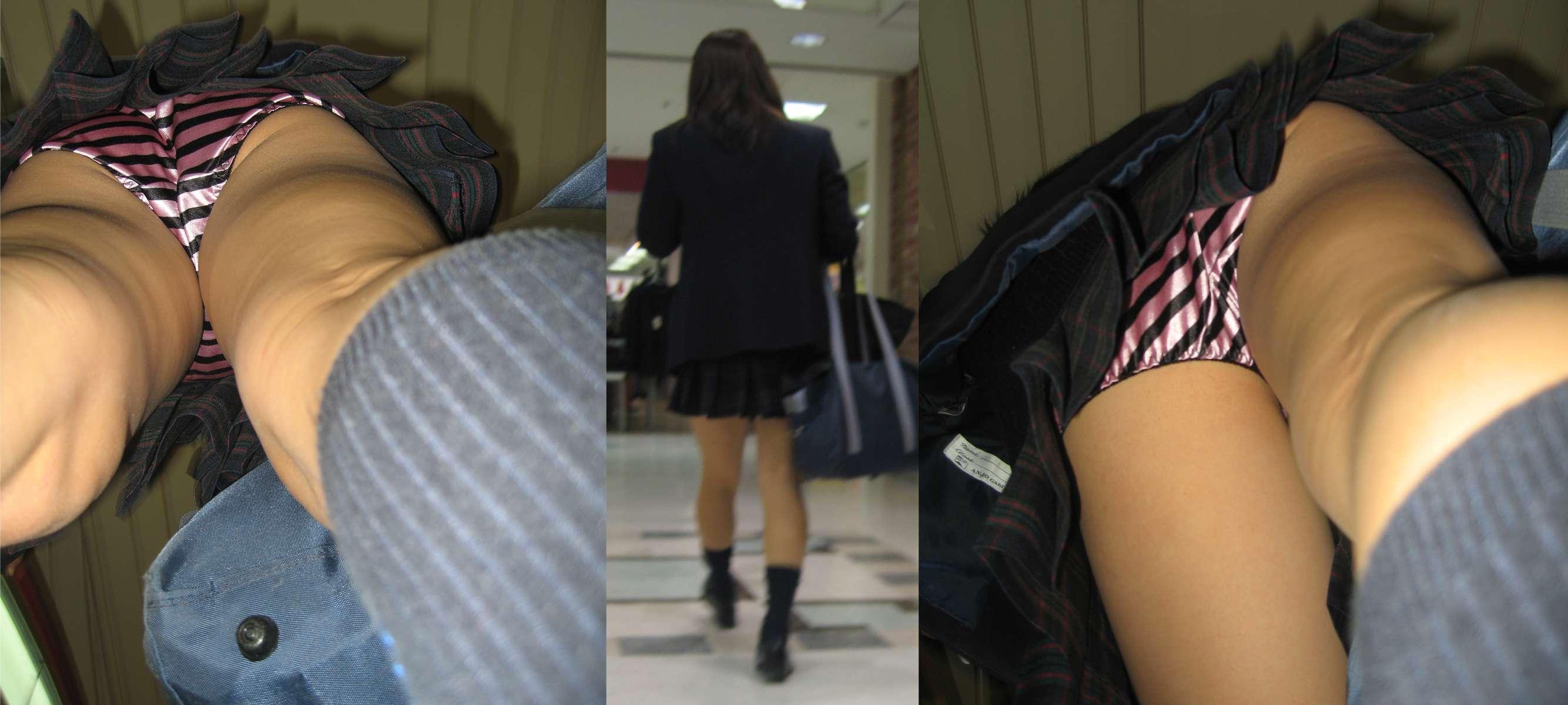 【JK逆さ撮りエロ画像】子供だと思ったら超ビッチ!女子高生の逆さ撮りパンツが派手すぎるwwww その12