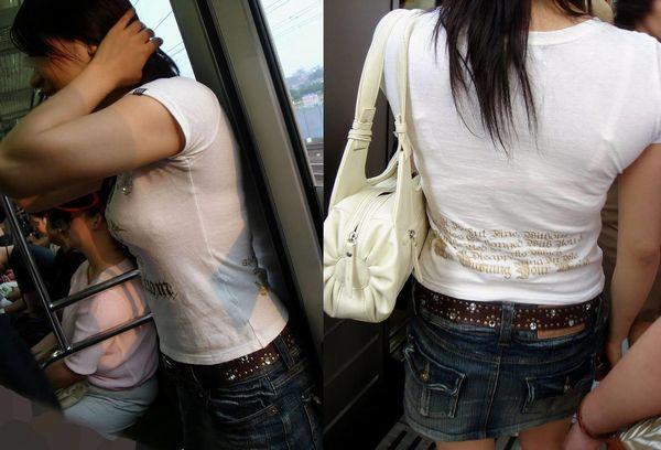 【電車内盗撮画像】満員電車でこの透けブラは危険…痴漢の衝動を抑えきれなくなる盗撮画像 その1