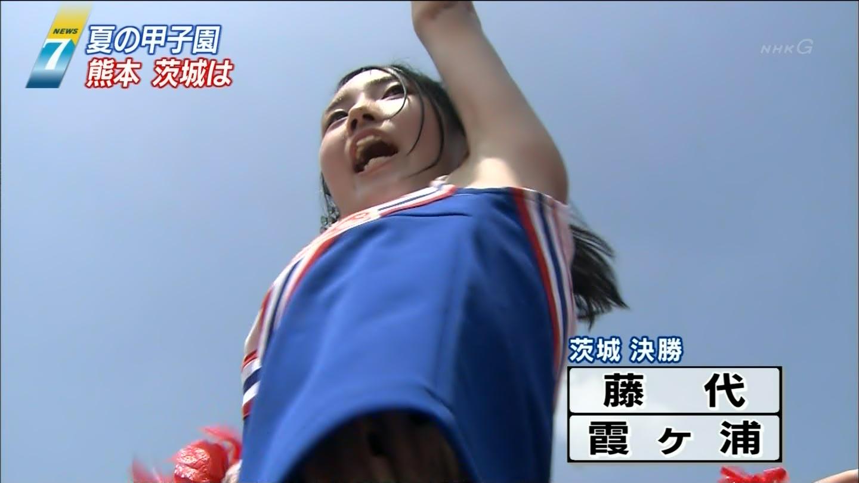 【チアガールエロ画像】夏の甲子園が待ちきれない…TVカメラマンも狙っている高校チアガールの腋フェチ画像 その8