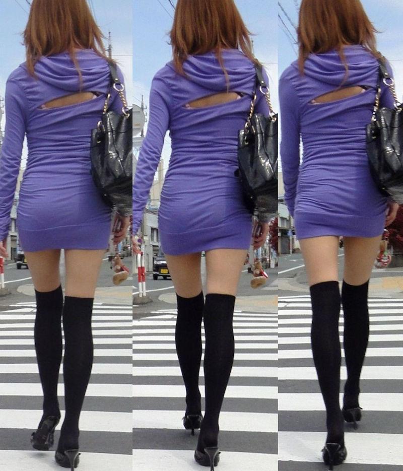 【街撮りエロ画像】ピタッと身体に張りつくタイトミニ!エッチな曲線美がそそる痴女の街撮りエロ画像 その2