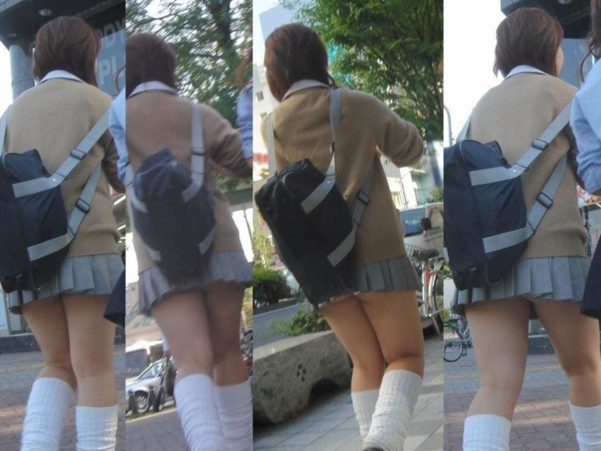 【お尻フェチエロ画像】少したるんだお尻がリアル…短すぎるスカートからはみ出す女子高生のお尻画像 その12